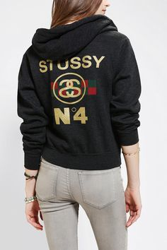 d77b13e92b4 Stussy No 4 Zip-Up Hoodie Sweatshirt