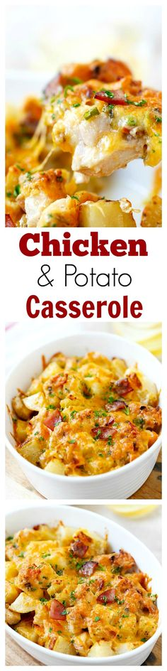 Baked Chicken and Potato Casserole - crazy delicious chicken potato casserole loaded with cheddar cheese, bacon and cream, easy recipe for the family | rasamalaysia.com
