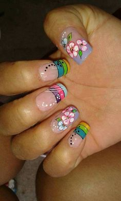 Vɨʋɨaռa Nail Designs Spring, Cute Nail Designs, French Nails, Nail Painting Tips, Fingernails Painted, Nails Only, Floral Nail Art, Painted Nail Art, Bright Nails