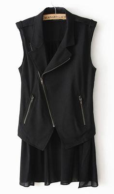 Irregular chiffon vest