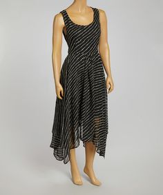 Look at this #zulilyfind! Black & White Stripe Handkerchief Dress #zulilyfinds