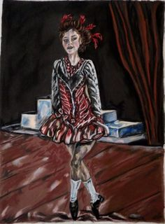 Buy Irish dancer in red, Pastel drawing by Anna  Sasim on Artfinder. Discover thousands of other original paintings, prints, sculptures and photography from independent artists.