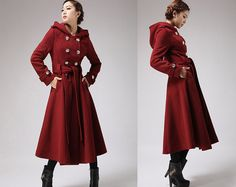 Military coat  red wine jacket cashmere coat winter by xiaolizi, $228.00