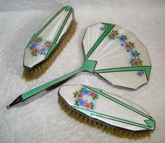 ART DECO FLORAL & GREEN GUILLOCHE CHROME HANDLED & BORDERED MIRROR WITH BRUSHES