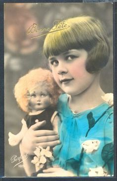 PZ090-ART-DECO-Cute-GIRL-HAIRSTYLE-DOLL-KITSCH-FRENCH-Tinted-PHOTO-pc