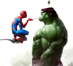 Spiderman vs. Hulk painting