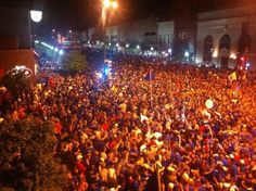 Sea of humanity on Mass St. in Lawrence, Kansas following the win over Ohio State.