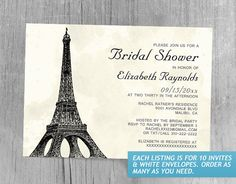 Antique Eiffel Tower Bridal Shower Invitations