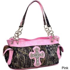 Mossy Oak Rhinestone Cross Wide Camouflage Shoulder Bag (€39) ❤ liked on Polyvore featuring bags, handbags, shoulder bags, brown, zip pouch, shoulder strap bags, cell phone purse, camo rhinestone purse and zipper pouch