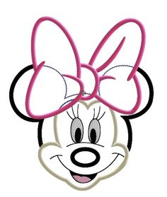 Miss Mouse Face Big Bow Machine Applique Embroidery Design....http://misskenziemac.com
