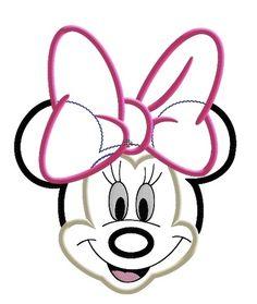 Miss Mouse Face Big Bow Machine Applique Embroidery Design....http://misskenziemac.com