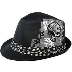 Black Skull Punk Rock Emo Fashion Dress Fedora Hats SKU-71108008