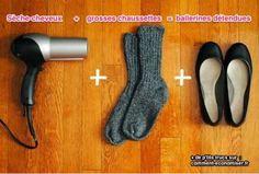 avec un sèche cheveux et des chaussettes épaisses on peut agrandir des ballerines