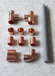 Copper Candle Holders, Candle Holders Wedding, Copper Pipe Taps, Wedding Decorations, Table Decorations, Wedding Ideas, Concrete Crafts, Diy Clay, Candlesticks