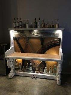 Basement Remodel Pla - January 29 2019 at Refurbished Furniture, Repurposed Furniture, Furniture Makeover, Vieux Pianos, Small Bars For Home, Basement Guest Rooms, Old Pianos, Piano Bar, Up House