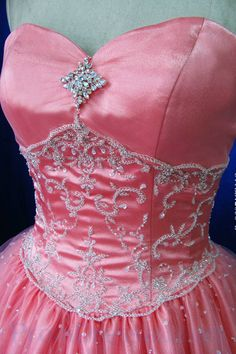 Strapless Handmade Beading A Line Pick Up Coral Quinceanera Dress