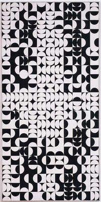 Zdeněk Sýkora, title:Black-and-White Structure (Circles) also known as:Černo-bílá struktura (kruhy), 1968, painting, b/w, computer-generated, Oil on canvas 220 × 110 cm artwork type: