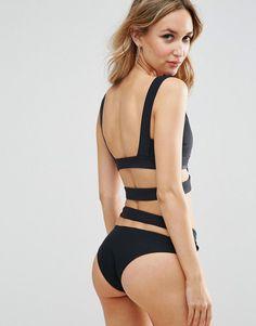 f2234efb34cd4 ASOS Neoprene Cut Out Caged Bikini Top - Black Black Bikini Tops, Cut Out  Design