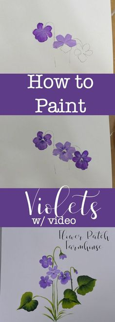 How to Paint Violets. How to paint Violets one stroke at a time. An easy painting tutorial for everyone, even beginning painters. A video is included to make it even easier! Painting Lessons, Painting Techniques, Art Lessons, Painting & Drawing, One Stroke Painting, Time Painting, Matte Painting, Watercolor Techniques, Watercolor Flowers