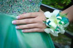 Teal - Turquoise - Prom Flowers - Wristlet - Orchid -