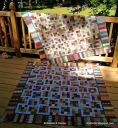 "Quiltville's Quips & Snips!!: Dancing Nines Pattern Time! Printer  friendly version available. These 9 patches were made with 2"" squares cut from recycled plaids, stripes and prints and sewn together with no attention paid to what was light or dark, just sewn randomly in between the lines of working on other projects. I pinned them into groups of 10 so I could keep track of how many I needed. http://quiltville.blogspot.com/2013/06/dancing-nines-pattern-time.html"