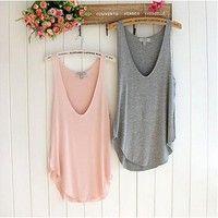 Wish   Wonderful Fashion Summer Woman Lady Sleeveless V-Neck Candy Vest Loose Tank Tops T-shirt