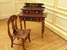 Renee Isabelle's Hand-Painted Desk w Matching Chair Artist Signed 1991