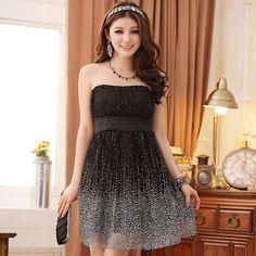 Gauze dress wholesale white spots girls dress P-k9101 Black
