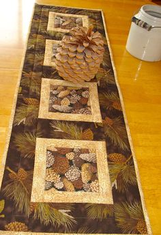 Quilted Pine Cone Table Runner by NeedleLove2 on Etsy, $30.00