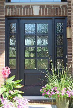 Awesome 35 Gorgeous Farmhouse Front Door Entrance Design Ideas To Apply Asap. Entrance Design, Front Door Design, Front Door Colors, Front Door Images, Entrance Ideas, Exterior Doors With Sidelights, Exterior Doors With Glass, Dark Grey Front Door, Front French Doors