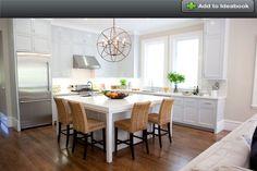 "square kitchen island - 6' x 7' island with medium size restoration hardware light. 32"" orb medium?"
