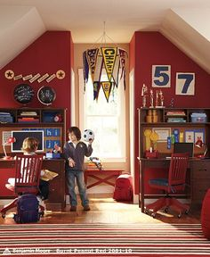 Love this vintage sports room.