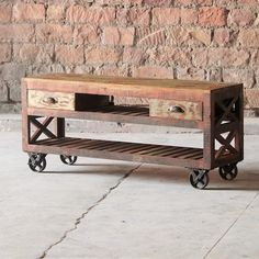 Mary Rose Reclaimed Wood TV Stand On Wheels - Modish Living Sale