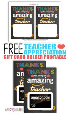 Check out these Free Teacher Appreciation Printabl Teacher Appreciation Cards, Volunteer Appreciation, Volunteer Gifts, Printable Gift Cards, Free Printable, Teacher Thank You, School Gifts, Amazon Gifts, Arrow