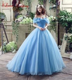 Vintage Blue Ball Gown Prom Dress New Movie Princess Cinderella Cosplay  Dress for 2017 Fancy Off 7fcfa8bd5501