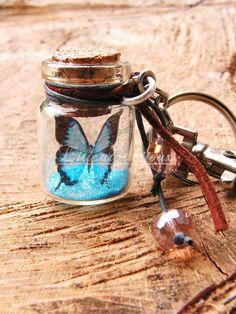bijou de sac ou porte clés fiole papillon bleu et noir : Autres bijoux par lilicat