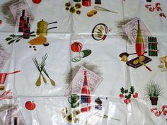 Cool Vintage Piece of Cotton Fabric Kitchen by VintageGirlStuff