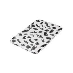 Modern Black and White Succulent Cactus Pattern Bath Mat