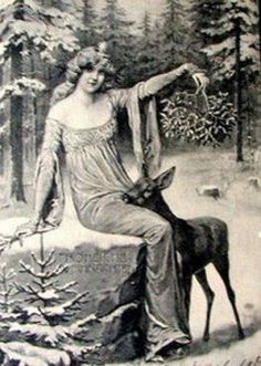 "Vintage image from a Winter Solstice greeting card.  In her book, ""European Mythology,"" Jacqueline Simpson describes the Scottish version, the Cailleach Bheur, as ""a tall, blue-faced crone"" who is ""both a personification of winter and a protectress of wild animals."""