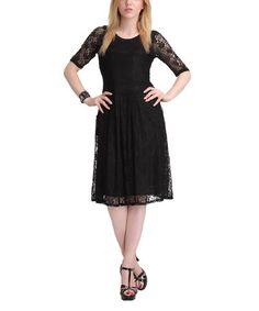 This Black Lace Three-Quarter Sleeve Dress is perfect! #zulilyfinds $29.99, regular 100.00