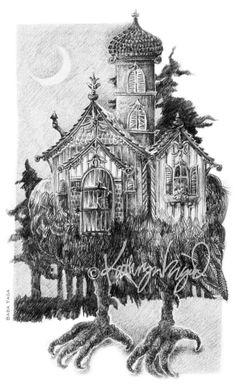 The Hut on Hen's Legs —Graphite on paper.
