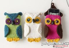 Owl Crochet Phone Case (SO CUTE but website in Russian. copy the words and put it in google translate.