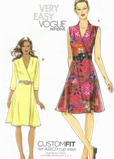 Vogue Sewing Pattern V8646 Womens Wrap Dress Custom by CloesCloset