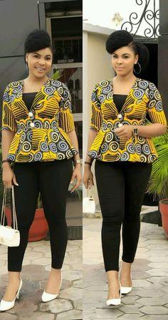 Ankara styles 516858494737601702 - latest ankara tops on jeans out trending latest ankara tops to rock on fridays African Fashion Ankara, Latest African Fashion Dresses, African Dresses For Women, African Print Fashion, African Attire, Africa Fashion, African Tops For Women, African Wear For Ladies, African American Fashion
