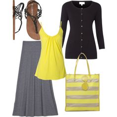 """yellow & grey"" by holiness-preachers-wife on Polyvore"