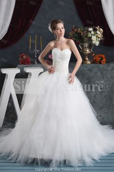 White Zipper-back Satin A-Line Sleeveless Wedding Dress -Wedding & Events-Wedding Dresses-A-line Wedding Dresses US$315.99
