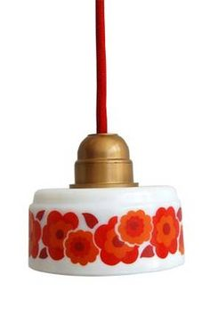 vintage arcopal transformed into lampshade!