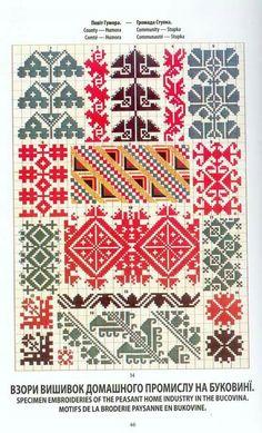 Ukrainian and Romanian embroidery of Bukovyna-Bucovina Polish Embroidery, Folk Embroidery, Shirt Embroidery, Cross Stitch Embroidery, Embroidery Patterns, Crochet Patterns, Cat Cross Stitches, Cross Stitch Borders, Knitting Stitches