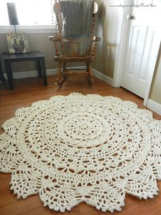 Giant Crochet Doily Rug, floor, off white- Ecru- nude- Lace- large area rug, Cottage Chic- Oversized- shabby chic home decor- round rug