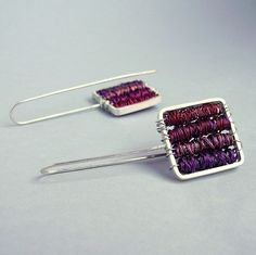 Earrings Purple in Sterling silver and copper long by aforfebre